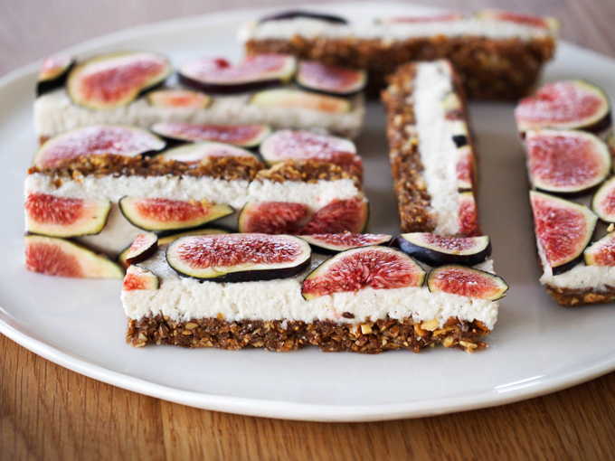 fig base layered with a vanilla coconut cashew cream topped with fresh ...