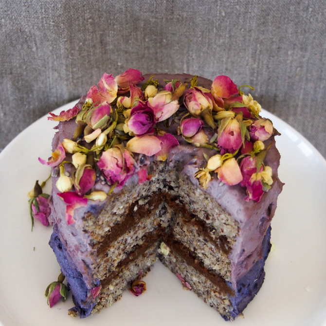 Banana Birthday Cake with Blueberry Cream Frosting ~ Secret Squirrel Food